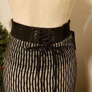 LAPIS Knit Stretch Below Knee Skirt, Black/Taupe